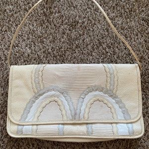 Vintage white ivory gray patchwork leather purse